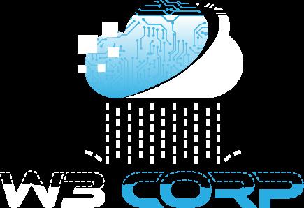 Logo da empresa W3 Corp - Uma nuvem estilizada com pixels